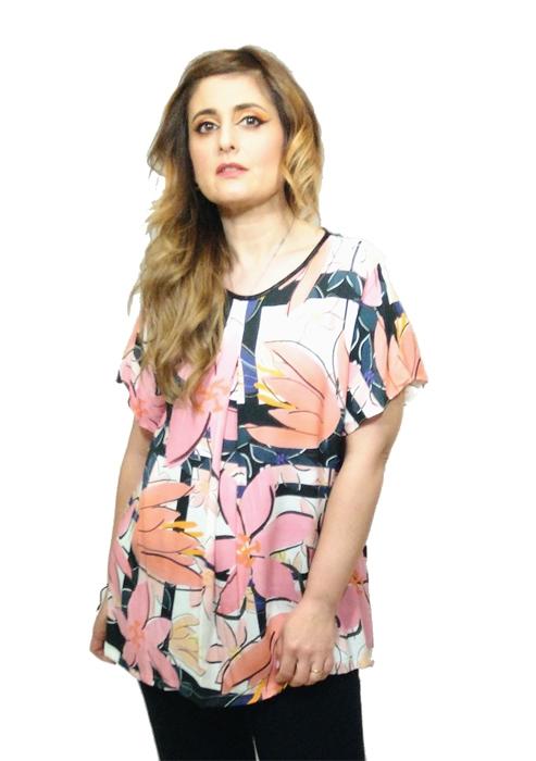 blusa-mujer-flores-manga-corta