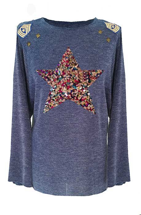 jersey-mujer-talla-46-azul-estrella