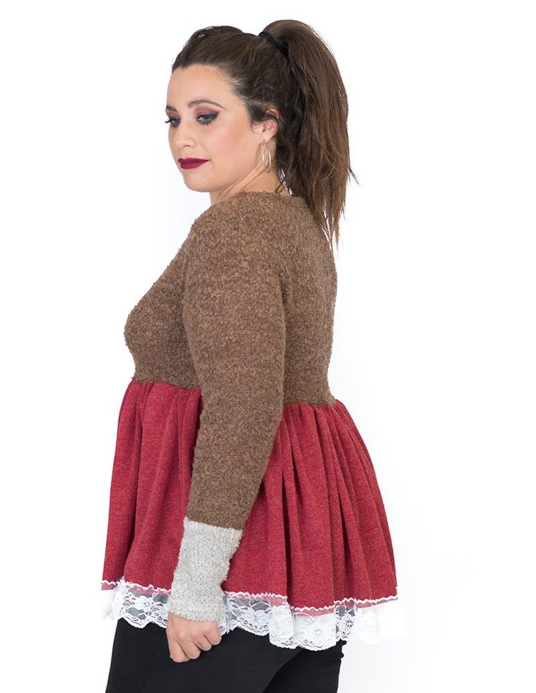 jersey-mujer-rojo-marron