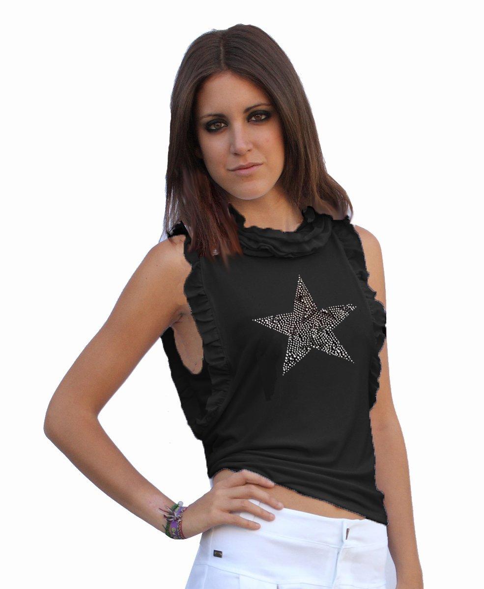 camiseta-negra-ajustada-de-mujer-barato
