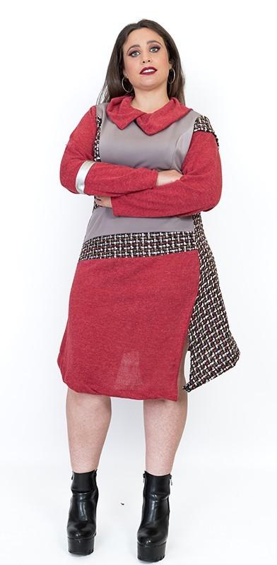 vestido-de-talla-grande-patchwork-rojo