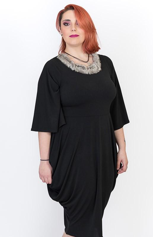 vestido-talla-grande-negro-manga-francesa
